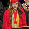 Mark Maynard | For The Herald Bulletin<br /> Class of 2017 Salutatorian Elizabeth Butler speaks to her fellow graduates during commencement exercises on Saturday at the East Side Church of God.