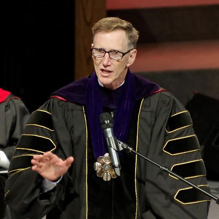 Mark Maynard | For The Herald Bulletin<br /> Anderson University President John Pistole addresses the graduating Liberty Christian High School Class of 2017 on Saturday.