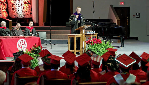 Mark Maynard   For The Herald Bulletin<br /> The LIberty Christian High School Class of 2017 is addressed by Anderson University President John Pistole during commencement ceremonies on Saturday at the East Side Church of God.