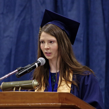 Mark Maynard | for The Herald Bulletin<br /> Shenandoah Class of 2017 Valedictorian Abigail Roeder addresses her fellow graduates.