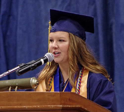 Mark Maynard | for The Herald Bulletin<br /> Salutatorian Rachel Coers delivers her speech to the Shenandoah High School Class of 2017.