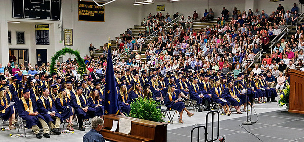 Mark Maynard | for The Herald Bulletin<br /> Joined by family and well-wishers, the 90 members of the Shenandoah High School Class of 2017 participate in commencement exercises on Sunday.