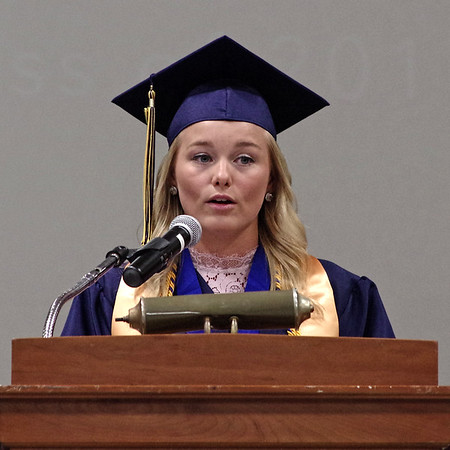 Mark Maynard | for The Herald Bulletin<br /> Shenandoah High School Class of 2017 President Claire Trennepohl welcomes her classmates, along and their families and friends, to graduation ceremonies on Sunday afternoon.