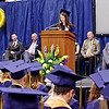 Mark Maynard | for The Herald Bulletin<br /> As her classmates look on, Valedictorian Abigail Roeder delivers her address during commencement ceremonies on Sunday.