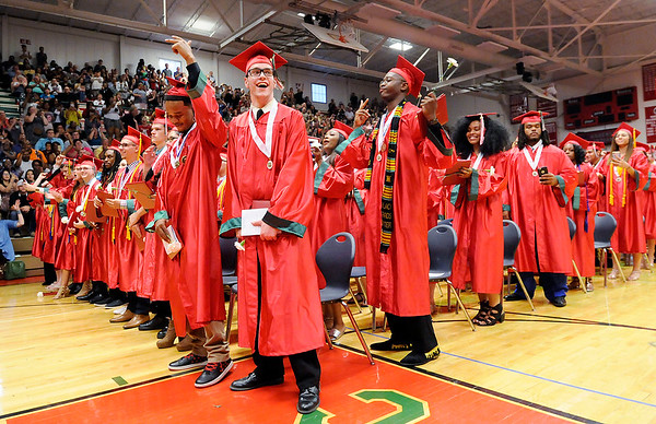 Don Knight | The Herald Bulletin<br /> Students smile as Anderson's graduation ceremony draws to a close on Tuesday.