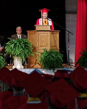 Salutatorian Anna Sperry address her classmates during commencement ceremonies at Frankton High School.
