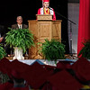 Salutatorian Anna Sperry address her classmates during commencement ceremonies at Frankton High School.