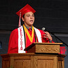 Cameron Klabunde, Valedictorian of the Frankton High School Class of 2018, addresses his fellow graduating seniors during commencement ceremonies on Friday evening.