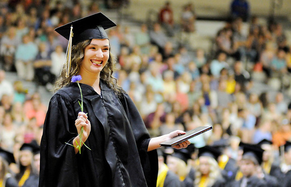 Don Knight | The Herald Bulletin<br /> Alyssa Whaley smiles after receiving her diploma as Lapel held their graduation on Saturday.