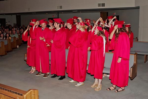 The graduating Seniors of Liberty Christian's Class of 2018 turn their tassels.