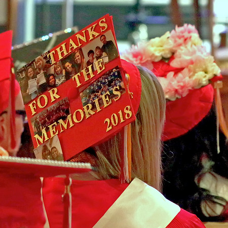 A Liberty Christian senior's mortarboard  expresses her feelings during graduation ceremonies.