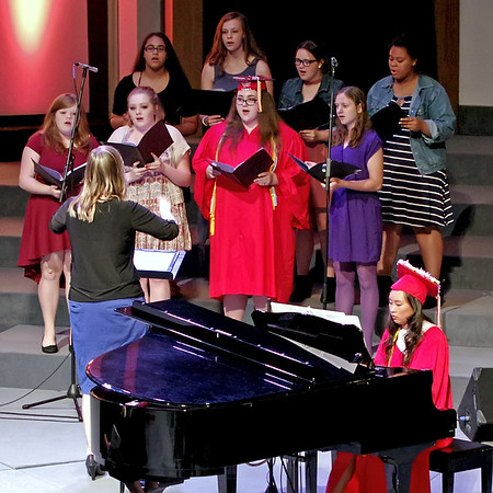 """Graduating vocalist Deborah Johnson and pianist Anna Childs perform for the final time with the """"Liberty Echoes."""""""