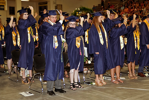 Mark Maynard   for The Herald Bulletin<br /> Members of the Shenandoah Class of 2018 turn their tassels to signify their status as graduates.