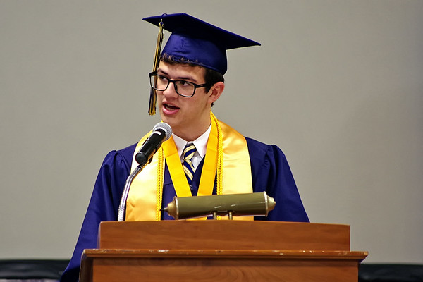 Mark Maynard   for The Herald Bulletin<br /> Shenandoah High School Class of 2018 Salutatorian Lucas Moore delivers his address during commencement ceremonies on Sunday afternoon.