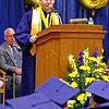 Mark Maynard | for The Herald Bulletin<br /> Valedictorian Brandonj Barnes addresses his fellow graduating seniors during commencement exercises for the Shenandoah High School Class of 2018.