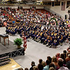 Mark Maynard | for The Herald Bulletin<br /> Shenandoah High School Principal Jacob Wiese speaks to the members of the Class of 2018 and their family and friends assembled for commencement ceremonies on Sunday afternoon.