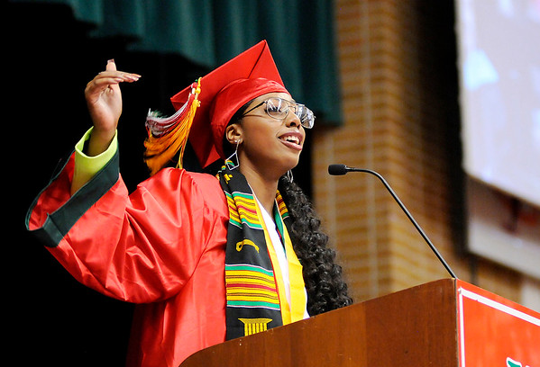 Don Knight   The Herald Bulletin<br /> Jai Jackson gives the Commencement Address at Anderson High School on Tuesday.