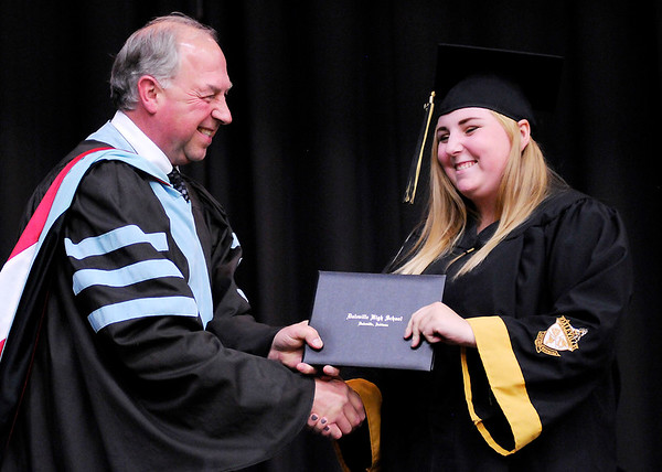 Don Knight | The Herald Bulletin<br /> Superintendent Paul Garrison hands out diplomas as Daleville held their Commencement for the Class of 2019 on Friday.
