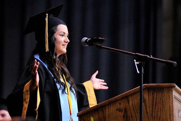 Don Knight | The Herald Bulletin<br /> Salutatorian Taylor Gillum tells her fellow students it's a great day to be a Bronco as Daleville held their Commencement for the Class of 2019 on Friday.
