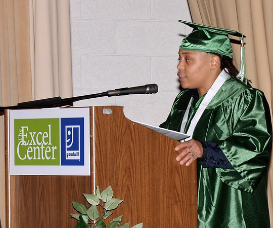 Carnisha Gosha inspires her Excel Center 2019 classmates with the story of her personal journey from a troubled past to successful student during graduation ceremonies.  (Mark Maynard photo)