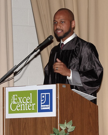 Keynote Speaker Joe White challenges the Excel Center Class of 2019 set themselves up for excellence in all that they do during graduation ceremonies.  (Mark Maynard photo)