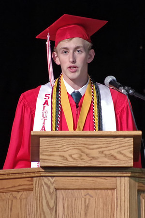 Frankton Class of 2019 Salutatorian, Addison Lawrence, delivers his commencement address. (Mark Maynard photo)