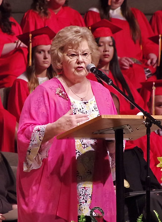 Honored guest and long-time school supporter Gloria Gaither delivereds an inspirational message to the members of the Class of 2019 during Liberty Christian school's Commencement ceremonies. (Mark Maynard photo)