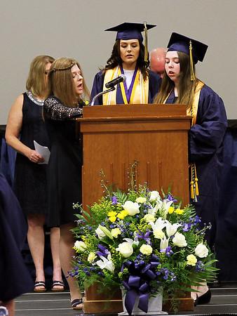 "Photo by Chris Martin for The Herald Bulletin.  Shenandoah graduates and staff sing ""Shenandoah Alma Mater"""