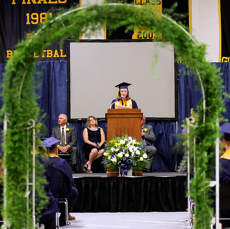 Photo by Chris Martin for The Herald Bulletin.  Shenandoah Valedictorian speaks to her classmates. Shenandoah High School held it's graduation ceremony Sunday June 2, 2019.