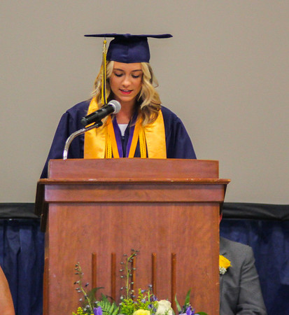 Photo by Chris Martin for The Herald Bulletin. Madison Surface gives a welcome speech during the Shenandoah graduation held Sunday.