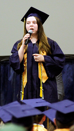 """Photo by Chris Martin for The Herald Bulletin. Emilie Ward sings """"I Lived"""" during the Shenandoah graduation held Sunday."""