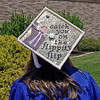 A graduating Elwood HIgh School Senior sends a message with her mortarboard at Sunday's Commencement.  (Mark Maynard photo)