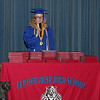 "Elwood High School Class of 2020 Valedictorian Sydney Bright delivers her address on ""The New Normal"" during live-streamed Commencment Ceremonies on Sunday afternoon.  (Mark Maynard photo)"