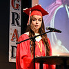 Liberty Christian School Class of 2020 valedictorian Alayna Thomas addresses her classmates during their graduation ceremony Tuesday evening held at Faith Church.