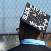 Ian Cooper decorated his motor board with Black Lives Matter during Madison-Grant's graduation on Friday.