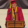 Alexandria Monroe High School Class of 2021 Valedictorian Derek Stinefield delivers his address to his classmates during graduation.