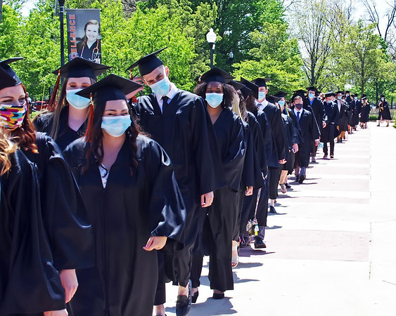 Anderson University students wait for their Commencement Processional to begin.