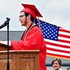 Micah Brooks addresses his classmates and guests during the Frankton Jr/Sr High School graduation.