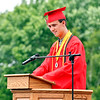 Frankton Jr/Sr High School class president Ayden Brobston gives opening remarks for the 2021 Class Commencement.