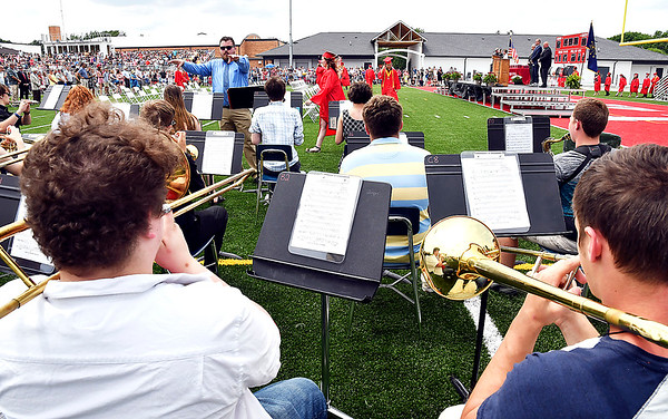 The Frankton High School band plays as the class of 2021 process onto the field for their graduation ceremony.
