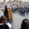 Lapel High School Class of 2021 representative Mariah Mason addresses her fellow classmates, family and guests during the 2021 Commencement Ceremony Sunday.