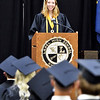 Lapel High School senior class president Lauren Richards addresses her classmates during their Commencement Ceremony Sunday.