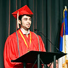 Valedictorian Nicholas Bitar, of the 2021 class of Liberty Christian High School, gives his address during commencement exercises Saturday.