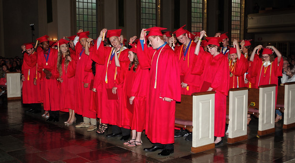 The 35 members of the Liberty Christian School 2016 graduating class turn their tassels at the conclusion of commencement ceremonies on Thursday evening at Park Place Church of God.