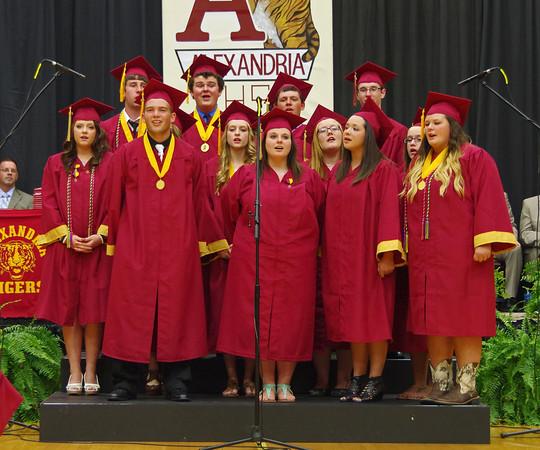 "Alexandria-Monroe High School Senior Choir Members perform ""Seasons of Love""during Commencement."