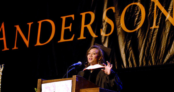 Andrea Morehead Allen, a Anderson native, gave the commencement address at Anderson University Saturday.