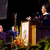 Andrea Morehead Allen, a Anderson native, gave the commencement address at Anderson University Saturday and here acknowledges her father, James Morehead, left, a Professor of Communications at the university.