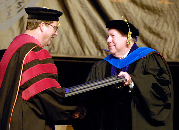 The first degree awarded at the 95th Commencement was a Doctor of Ministry degree to Christopher Dare by university president James Edwards.