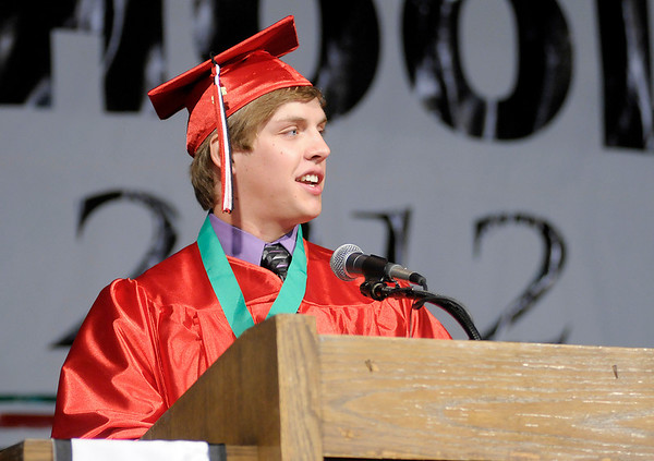 Vice President of the Class of 2012 Luke Stafford speaks to his classmates before leading them in the Pledge of Allegiance and a moment of silence.