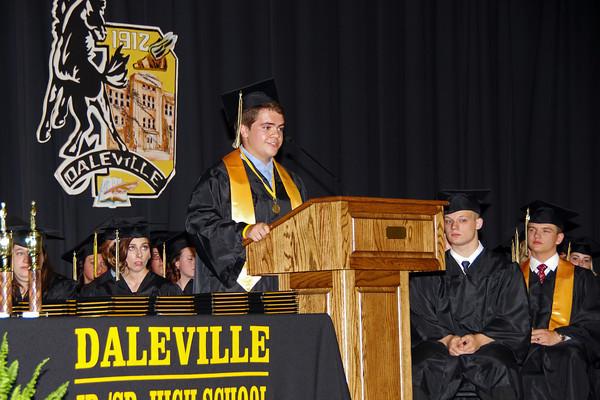 Class President Donovan Archer addresses his fellow graduating Seniors during Daleville High School commencement.